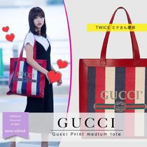 GUCCI Stripes Unisex Canvas Blended Fabrics A4 Elegant Style Totes