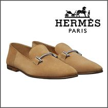 HERMES Plain Toe Loafers Unisex Suede Plain Loafers & Slip-ons