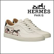 HERMES Street Style Other Animal Patterns Leather Sneakers