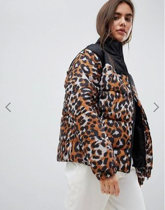 Leopard Patterns Medium Oversized Down Jackets