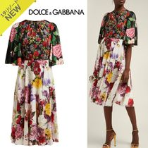 Dolce & Gabbana Crew Neck Flower Patterns Silk Flared Medium Short Sleeves