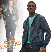 HERMES Street Style Long Sleeves Plain Leather Hoodies