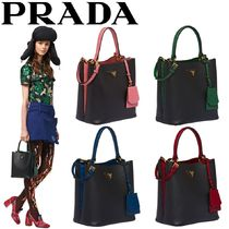 PRADA DOUBLE Saffiano Blended Fabrics 2WAY Bi-color Plain Elegant Style