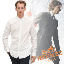 HERMES Long Sleeves Plain Cotton Shirts