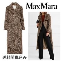MaxMara Leopard Patterns Wool Long Elegant Style Trench Coats
