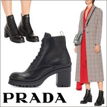 PRADA Round Toe Leather Ankle & Booties Boots