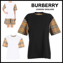 Burberry Other Check Patterns Plain Cotton Short Sleeves T-Shirts