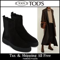 TOD'S Rubber Sole Suede Studded Ankle & Booties Boots