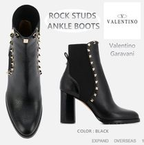 VALENTINO Studded Street Style Leather Block Heels High Heel Boots