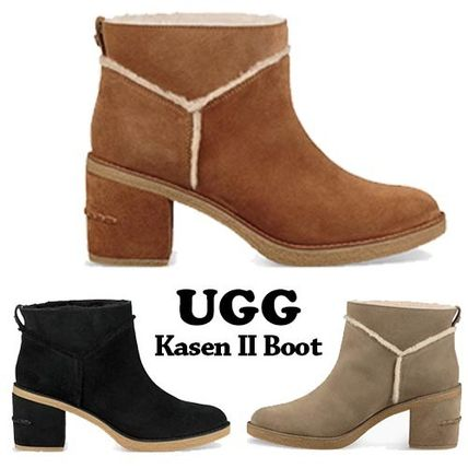 UGG Australia Ankle & Booties Round Toe Casual Style Suede Plain Block Heels
