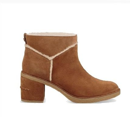 UGG Australia Ankle & Booties Round Toe Casual Style Suede Plain Block Heels 2