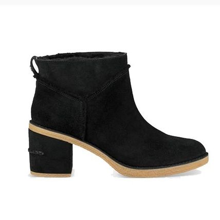 UGG Australia Ankle & Booties Round Toe Casual Style Suede Plain Block Heels 3