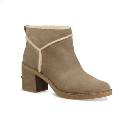 UGG Australia Ankle & Booties Round Toe Casual Style Suede Plain Block Heels 4