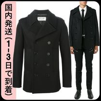 Saint Laurent Wool Plain Peacoats Coats