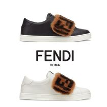FENDI Rubber Sole Leather Low-Top Sneakers