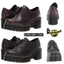 Dr Martens Platform Round Toe Casual Style Plain Leather