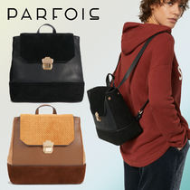 PARFOIS Casual Style Suede Blended Fabrics Bi-color Backpacks