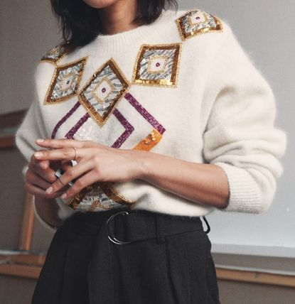 Casual Style Wool Rib Long Sleeves Medium With Jewels