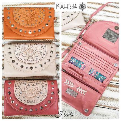 Flower Patterns Leather Handmade Long Wallets