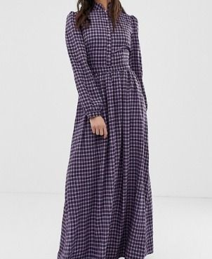 Other Check Patterns Maxi Long Sleeves Long High-Neck