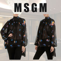 MSGM Flower Patterns Long Sleeves Shirts & Blouses