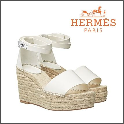6d68101fea21 ... HERMES Platform   Wedge Open Toe Blended Fabrics Plain Leather Elegant  Style ...