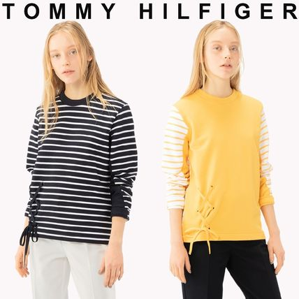 5a99f75da91a6 ... Tommy Hilfiger Cropped Crew Neck Short Stripes Unisex Street Style Long  Sleeves ...