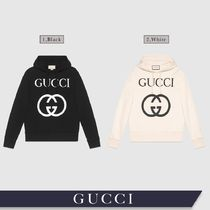 GUCCI Pullovers Unisex Long Sleeves Plain Cotton Oversized Logo