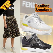 FENDI Round Toe Casual Style Street Style Leather Low-Top Sneakers