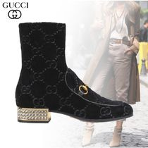 GUCCI Monogram Plain Toe Ankle & Booties Boots