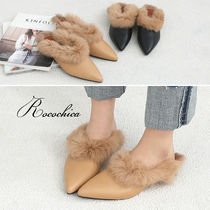 Casual Style Fur Blended Fabrics Plain Slippers