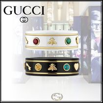 GUCCI Flower Patterns Unisex 18K Gold Rings