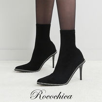 Casual Style Blended Fabrics Plain Pin Heels High Heel Boots