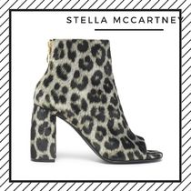 Stella McCartney Leopard Patterns Open Toe Faux Fur Street Style Party Style