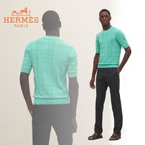 HERMES Crew Neck Other Check Patterns Cotton Short Sleeves