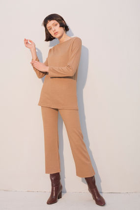 Casual Style Wool Boat Neck Long Sleeves Plain Long Co-ord