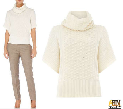 Short Wool Rib Plain Short Sleeves Elegant Style Turtlenecks