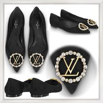 Louis Vuitton Suede Blended Fabrics Plain Handmade With Jewels