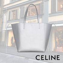 CELINE Cabas Casual Style Calfskin Plain Totes