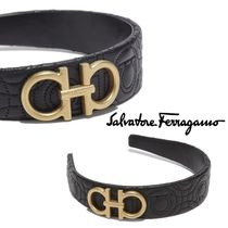 Salvatore Ferragamo Casual Style Blended Fabrics Leather Brass Headbands