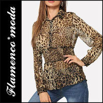 Leopard Patterns Casual Style Long Sleeves Long