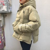 Short Street Style Plain Oversized Khaki Down Jackets