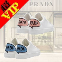 PRADA Round Toe Casual Style Plain Leather Low-Top Sneakers