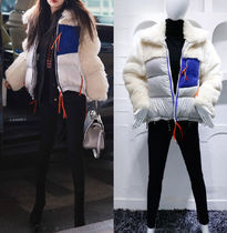 Faux Fur Blended Fabrics Street Style Bi-color Plain Medium
