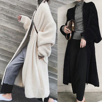 Wool Plain Long Midi Office Style Oversized Wrap Coats