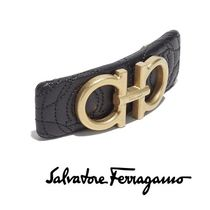 Salvatore Ferragamo Barettes Blended Fabrics Leather Brass Elegant Style Clips