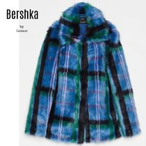 Bershka Other Check Patterns Long Cashmere & Fur Coats