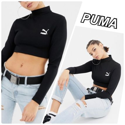 Crew Neck Short Street Style Long Sleeves Plain Cropped