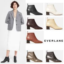 Everlane Round Toe Plain Leather Block Heels Ankle & Booties Boots