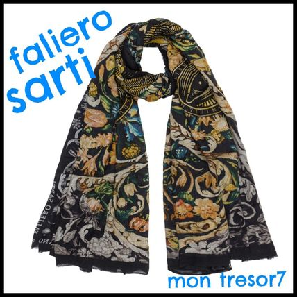 Flower Patterns Casual Style Cashmere Accessories